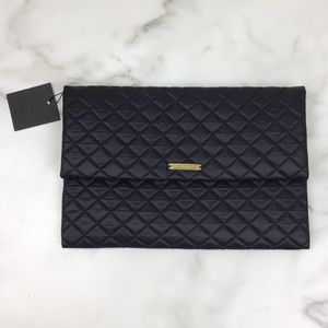 Do Everything In Love Black Quilted Clutch